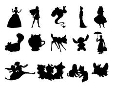Disney Silhouette Collage #2: Cinderella, Pocahontas, Genie, Mulan, Alice, Cheshire Cat, Mrs. Potts, Bambi, Stitch, Mary Poppins, Aladdin and Jasmine, Berlioz Marie and Toulouse, Copper and Todd, Dumbo.