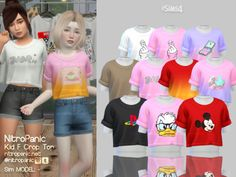 The Sims 4 mody do gry: Koszulka dziewczęca od Nitro Panic Sims 4 Toddler Clothes, Sims 4 Mods Clothes, Sims 4 Cc Kids Clothing, Toddler Outfits, Kids Outfits, Toddler Cc Sims 4, Children Clothing, Toddler Fashion, Toddler Girls