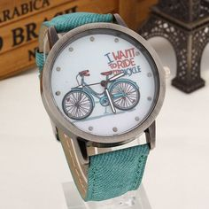 New Fashion Casual Women Girls Students Bike Watches Vintage Wristwatches Canvas Fabric Strap Bicycle Pattern Quartz Watch gift