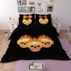 new arrival 3D human skeleton black skull death's-head design twin queen bed sheet set bedclothes duvet cover set bedding set