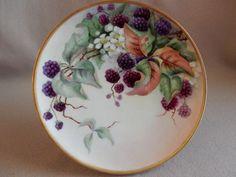 """Haviland Limoges Hand Painted """"Raspberries"""" Motif Plate - Artist…"""