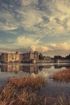 Leeds Castle - Kent, England. The chambers are beautiful, but I'd be happy to stand on a river bank watching black swans gliding over the waters of the moat at sunset.