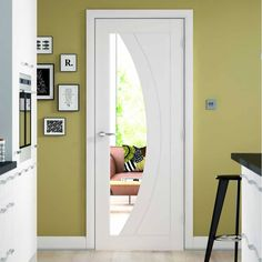 Salerno white primed oak door with clear safety glass, stunning! Internal Glazed Doors, White Internal Doors, White Doors, Contemporary Doors, Modern Door, Safe Glass, Clear Glass, Primed Doors, Shabby Chic Colors
