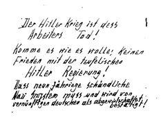 ¡La Guerra de Hitler es la muerte de los trabajadores!  Otto y Elise Hampel: la resistencia al totalitarismo mediante tarjetas postales
