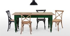Rochelle Rectangular Dining Table in oak and green | made.com