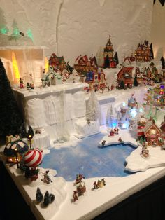 waterfall and pond in my 2015 Department 56 North Pole Christmas village