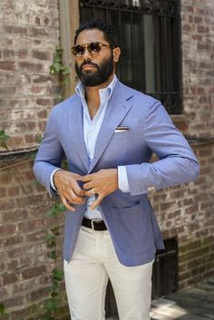 Shop this look for $140: http://lookastic.com/men/looks/light-blue-longsleeve-shirt-and-light-blue-blazer-and-black-belt-and-white-chinos/2866 — Light Blue Longsleeve Shirt — Light Blue Blazer — Black Leather Belt — White Chinos