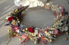 Bridal Flower Crown Dried Lavender and Dried Flowers for Brides, Bridesmaids, Flowergirls #weddingcrowns