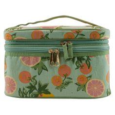 Contents Citrus Floral Double Zip Train Case Cosmetic Bag,