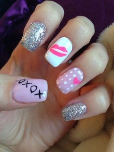 Kisses | DIY Valentines Day Nail Art Ideas for Teens