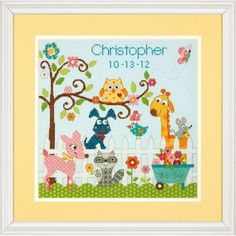 Dimensions Happi Backyard Birth Record - Cross Stitch Kit. Animals of all shapes and sizes have gathered 'round to welcome a new arrival to the neighborhood! Ha