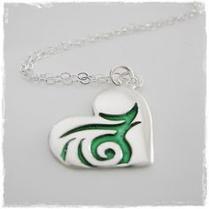 Silver Swirl Heart Pendant with Green Enamel Accents on Sterling Silver Chain Handmade Jewellery, Unique Jewelry, Handmade Gifts, Sterling Silver Jewelry, Enamel, Hearts, Create, Pendant, Trending Outfits
