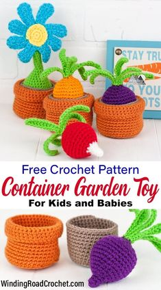 to Crochet a Baby Toy Garden: Free Pattern Container Garden Amigurumi crochet toy for kids and babies. Free Crochet pattern by Winding Road Crochet.Container Garden Amigurumi crochet toy for kids and babies. Free Crochet pattern by Winding Road Crochet. Crochet Pattern Free, Crochet Gratis, Crochet Motifs, Crochet Toys Patterns, Crochet Patterns Amigurumi, Stuffed Toys Patterns, Crochet Whale, Crochet Baby Toys, Crochet Food