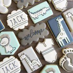 "Melissa Matthews on Instagram: ""Welcoming little Jack into the world!!🤍🤍🤍 #babyboycookies #babycookies  #decoratedcookies #arvaflour #arvaflourmill #royalicingcookies…"" Iced Cookies, Royal Icing Cookies, Fun Cookies, Sugar Cookies, Baby Boy Cookies, Baby Shower Cookies, Creative Desserts, Dessert Decoration, Cupcakes"