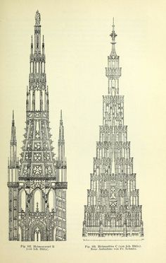 Spire designs for the Cathedral, Strasbourg