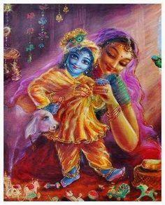 Yasoda dressing Krishna