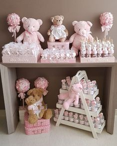 Ideas For Baby Girl Shower Themes Ideas Cute Baby Shower Ideas, Baby Shower Vintage, Baby Girl Shower Themes, Baby Boy Shower, Baby Shower Gifts, Baby Shower Favors, Teddy Bear Birthday, Teddy Bear Baby Shower, Diy Baby Shower Decorations