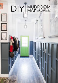 This DIY mudroom makeover is packed with brilliant organization ideas! Monica from East Coast Creative builds a mudroom complete with modern storage lockers, bench seating, ample storage, and a kid's gallery wall.
