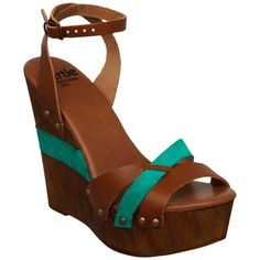 Bertie Gerino Leather Suede Fusion Wedge Sandals, Turquoise ($30) ❤ liked on Polyvore featuring shoes, sandals, wedges, heels, zapatos, leather strap sandals, high heeled footwear, low heel sandals, leather wedge sandals and low wedge sandals