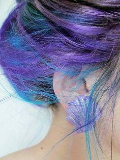 Blue and purple hair girly hair colorful hair hair styles blue hair hair ideas hair dye hair trends colorful hair ideas hair trend Bright Hair Colors, Hair Color Purple, Colorful Hair, Purple Teal, Deep Purple, Periwinkle Hair, Cyan Blue, Purple Glitter, Bright Pink