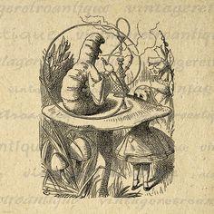 Printable Graphic The Caterpillar Image Alice in Wonderland
