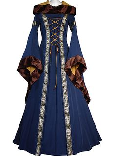 medieval gown in Navy Blue and Saffron