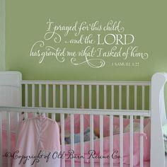 I prayed for this child scripture vinyl por OldBarnRescueCompany