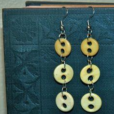 Vintage 3 Button Retro ReCreation Dangle Earrings