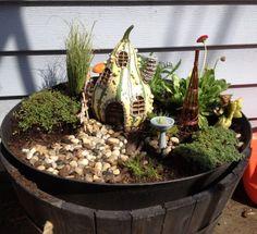 Fairy Garden - Love the gourd house!