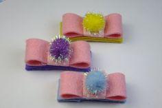 Pom Pom Felt Baby Girls Hair Clip Set Baby by Princessgumdrop