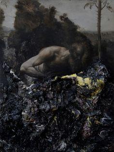 nicola samori - jungle, oil on wood, 40 x 30 x 5 cm, 2013