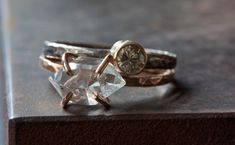 Herkimer Diamond Crystal RIng in Rose Gold by LexLuxe on Etsy