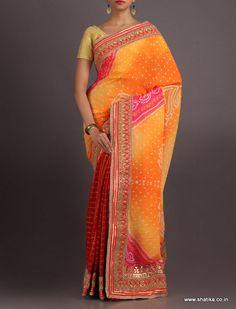 Drishti Hatch Checks Half Tie And Dye Pure Crepe Chiffon #BandhejSaree