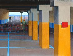 Australian Fine Art Editions - Artist Jeffrey Smart - Study, The Supermarket Car Park II