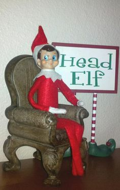 Arthur's the head elf in our house! Elf on the Shelf. #ElfontheShelf