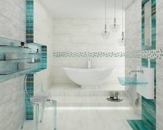 Large modern bathroom with a bathtub and glass decorations