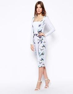 $57 Image 1 of ASOS Smokey Floral Body-Conscious Dress