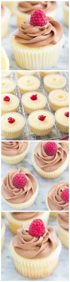Raspberry-Filled Chocolate Lemon Cupcakes with fudgy Greek yogurt frosting!