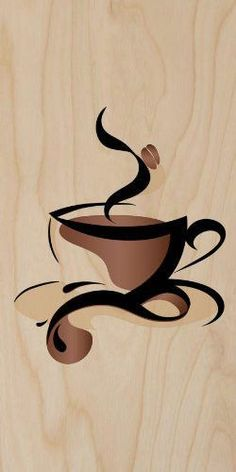 Abstract Swirl Artwork Cup of Coffee Java w/ Bean - Plywood Wood Print Poster Wall Art Coffee Artwork, Coffee Cup Art, Coffee Painting, Cup Of Coffee Drawing, Coffee Plant, Coffee Girl, Hot Coffee, Iced Coffee, Coffee Logo