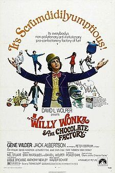 Oompa Loompa doompadido! Scared the hell outa me as a child but just couldn't stop watching it over and over. I love Violet in this poster! The new version doesn't exist in my eyes! Gene wilder all the way!