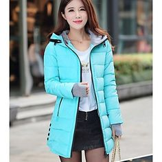 Women's Solid Color Blue / Pink / Red / Black Coats & Jackets Cowl Long Sleeve plus size 2015 – $28.99