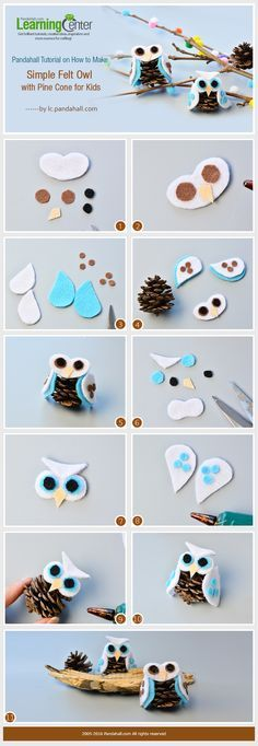 Wanna try simple felt crafts? If yes, you cannot miss today's Pandahall tutorial on how to make simple felt owl with pine cone for kids. Pinecone Crafts Kids, Owl Crafts, Diy Christmas Ornaments, Kids Christmas, Holiday Crafts, Pine Cone Crafts For Kids, Pinecone Decor, Plate Crafts, Christmas Christmas