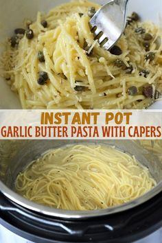 Instant Pot Garlic Butter Pasta with capers is super easy to make with simple ingredients yet delivers mouthwatering flavors. It's a no-fuss pressure cooker pasta dish that's sure to be dinner hit! #pasta #pressurecookerrecipes #spaghetti #easymeals #weeknightdinners Best Pasta Recipes, Best Vegetarian Recipes, Noodle Recipes, Korean Recipes, Fall Recipes, Dinner Recipes, Garlic Butter Pasta, Instant Pot Pasta Recipe, Pressure Cooking Recipes
