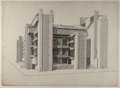 Paul Rudolph Art and Architecture Building, Yale University, New Haven, Connecticut, Architecture Drawings, School Architecture, Paul Rudolph, Architect Drawing, Philip Johnson, Walter Gropius, Alvar Aalto, Illustration Sketches, Modern Architecture