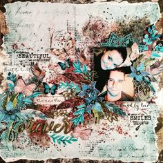 Hi My Crafty Friends, Today I am going to show you my brand new mixed media layout. I do not like using vivid embellishments and the sha. Mixed Media Scrapbooking, Paper Crafts, Diy Crafts, Wedding Scrapbook, Scrapbook Pages, Scrapbook Layouts, Layout Inspiration, Scrapbooks, This Is Us