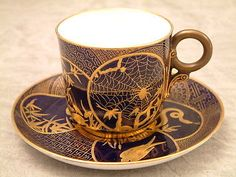 Royal Worcester c1876  Japanesque Cup Saucer Callowhill Brothers