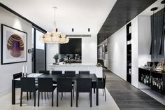 Gallery featuring images of the Ambitious Caroline Street Project by Architecton, a dual-home design with a sense of scale and drama in its modern construction. Black And White Dining Room, Black And White Furniture, Diy Design, Modern Design, Interior Design, Design Ideas, Dining Room Design, Dining Set, Kitchen Design