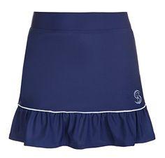 UK Golf Gear - Girls Navy Blue and White tennis Skirt / Tennis Skort with underpants Kids Tennis Skorts Junior Netball Skirt, Golf skirt, Sportswear, Junior Skort, Netball Skirt, Hockey Skirt , Girls Sportswear, School PE Skirt