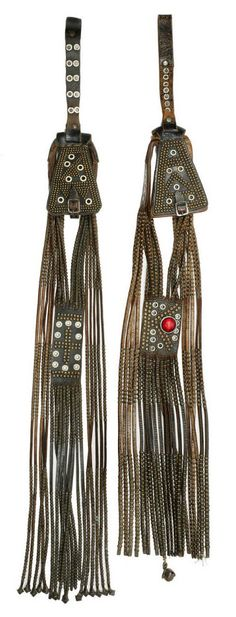 Africa | Woman's Purse from the Thembu people, South Africa | Leather, metal rings, brass studs, glass beads, fiber, wool
