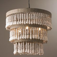 Three Tiered Wood Beaded Chandelier - Shades of Light